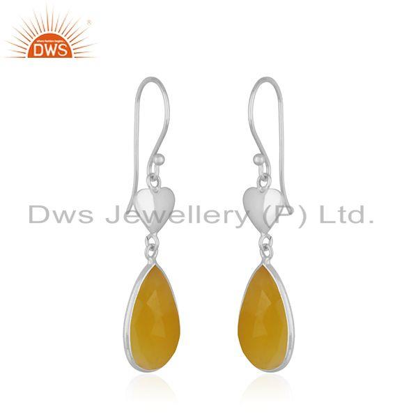 Exporter Yellow Chalcedony Gemstone 925 Sterling Silver Heart Earring Manufacturer India