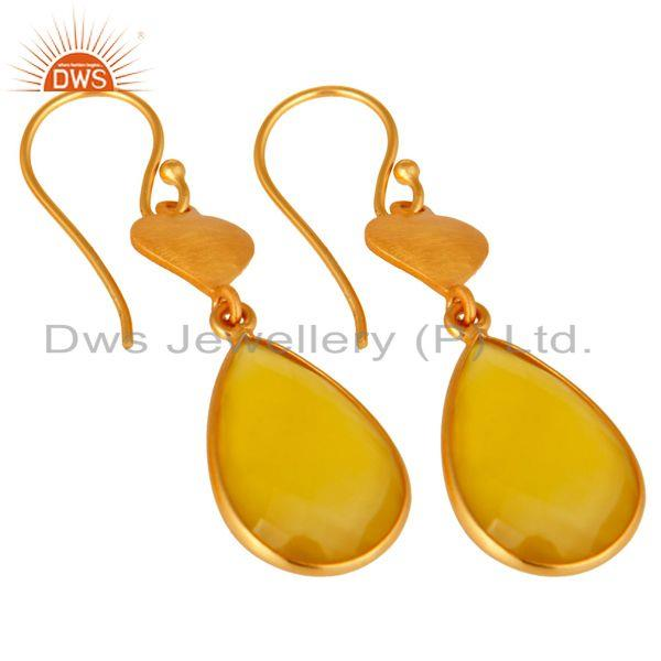 Wholesalers 24K Gold On Silver Yellow Chalcedony Gemstone Beautiful Designer Dangle Earrings