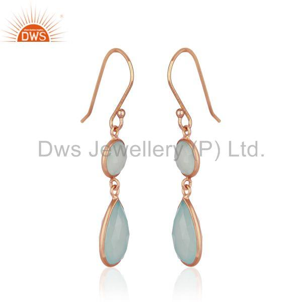 Exporter Handmade Rose Gold Plated 925 Silver Aqua Chalcedony Gemstone Earring Wholesale