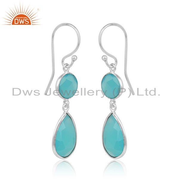 Sterling silver designer aqua chalcedony gemstone hook earrings