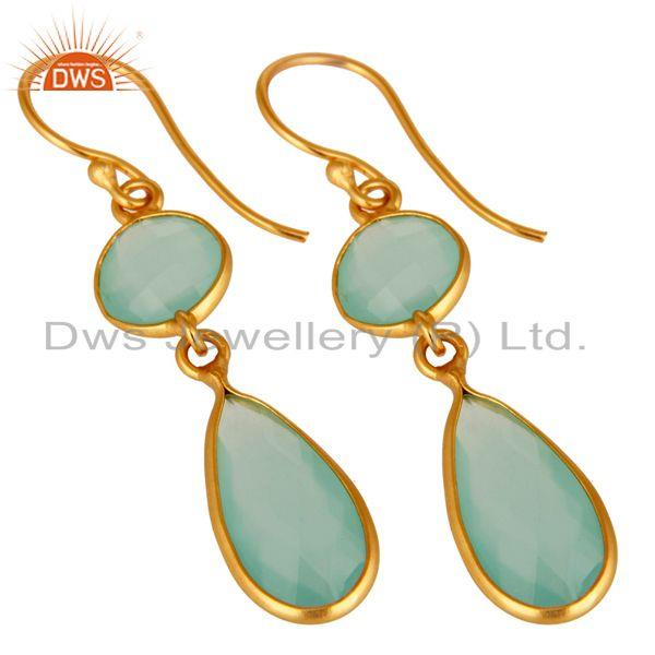 Wholesalers 18K Yellow Gold Plated Sterling Silver Handmade Dyed Chalcedony Dangle Earrings