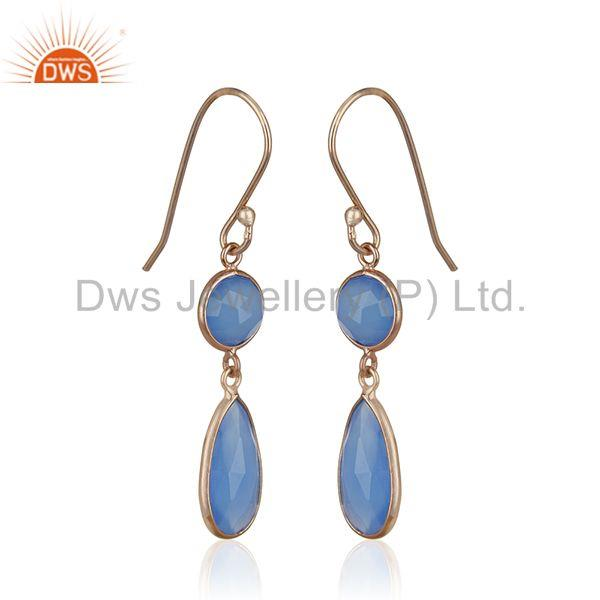 Exporter Blue Chalcedony Gemstone Rose Gold Plated 925 Silver Earring Manufacturers