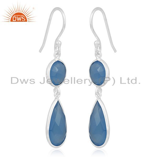 Exporter Blue Chalcedony Gemstone 925 Silver Dangle Earring Manufacturer