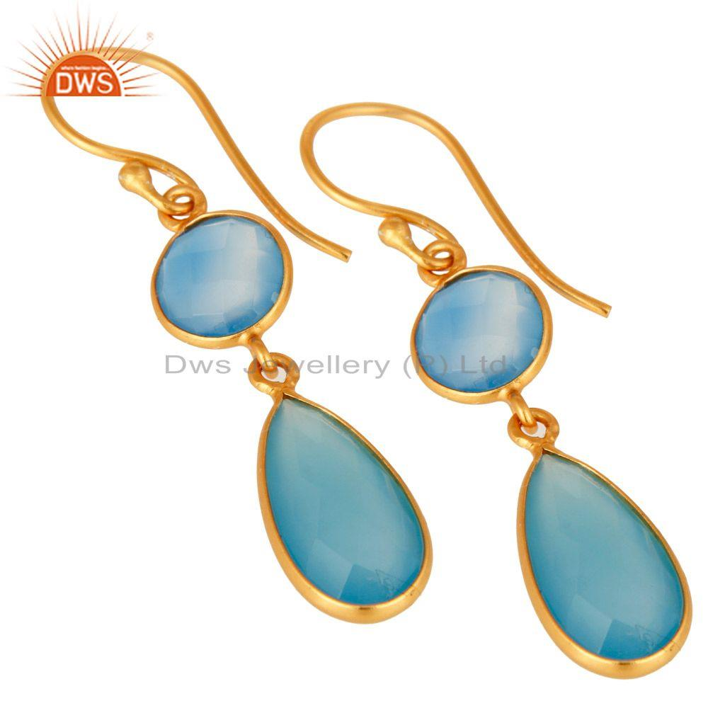 Wholesalers Faceted Dyed Blue Chalcedony Gemstone Dangle Earrings In 18K Gold Over Silver