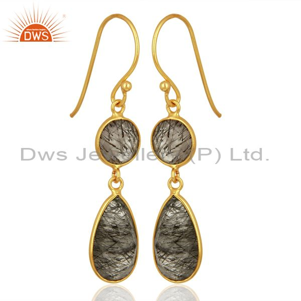 Exporter Black Rutile Dangle 14K Gold Plated 925 Sterling Silver Earrings Jewelry