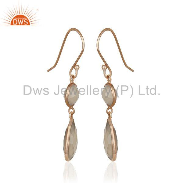 Exporter Grey Chalcedony Gemstone 925 Silver Rose Gold Plated Handmade Earrings Supplier