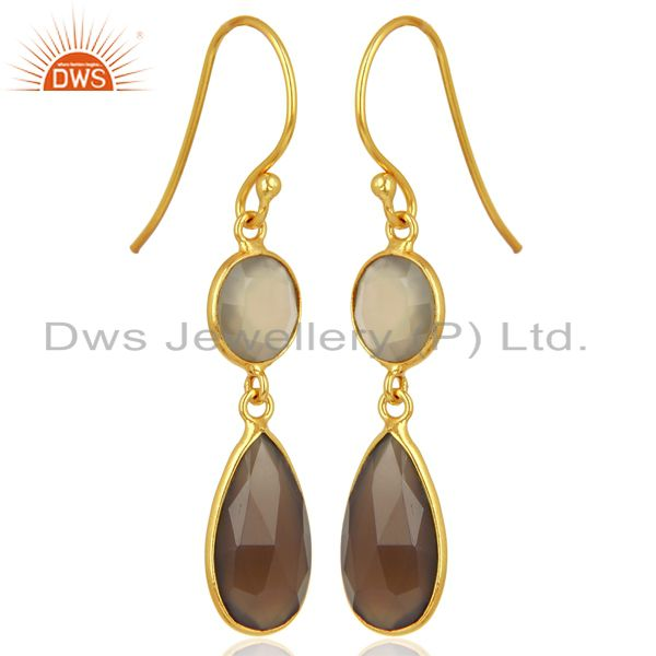 Exporter Gray Chalcedony Dangle 14K Gold Plated 925 Sterling Silver Earrings Jewelry