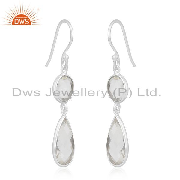 Exporter Crystal Quartz 925 Sterling Silver Dangle Earring Manufacturer of Custom Jewelry
