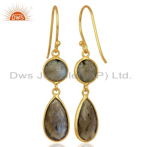 Exporter Labradorite Dangle 14K Gold Plated 925 Sterling Silver Earrings Gemstone Jewelry