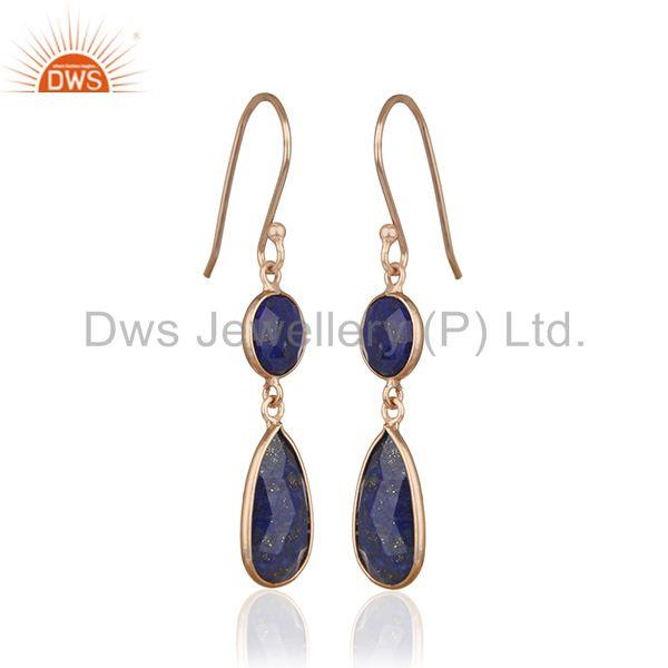 Exporter Handmade Rose Gold Plated 925 Silver Lapis Lazuli Gemstone Earring Manufacturers