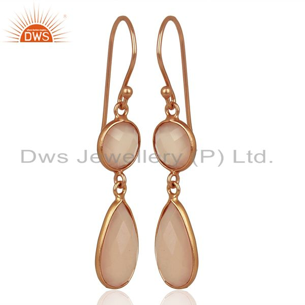Exporter Rose Chalcedony Round Teardrop Sterling Silver Rose Gold Plated Dangle Earring