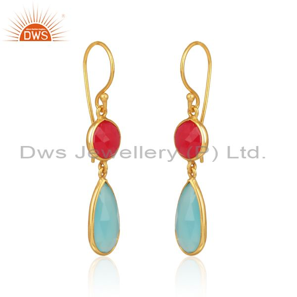 Pink, aqua chalcedony classic dangle in yellow gold on silver 925