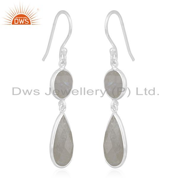 Exporter Rainbow Moonstone 925 Sterling Silver Earring Wholesale Supplier from India