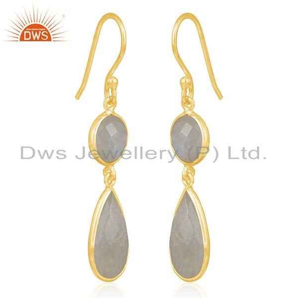Exporter 925 Silver Gold Plated Rainbow Moonstone Earring Wholesale Supplier