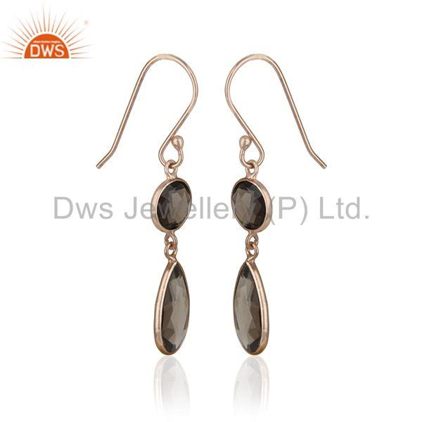 Exporter Smoky Quartz Gemstone Rose Gold Sterling Silver Customized Earring Manufacturers