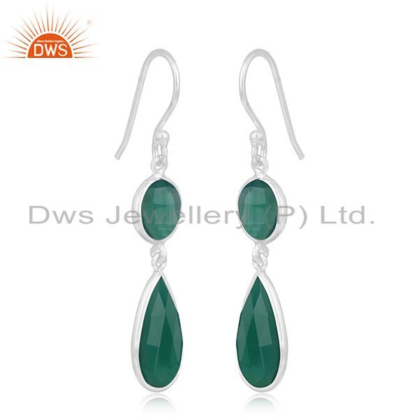 Exporter Green Onyx Gemstone Handmade 925 Silver Girls Earrings Wholesale