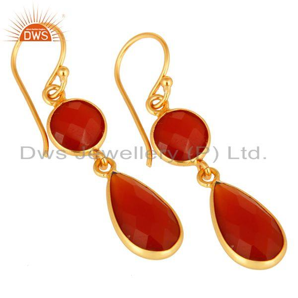 Wholesalers 18K Gold Over Sterling Silver Faceted Red Onyx Gemstone Bezel-Set Drop Earrings