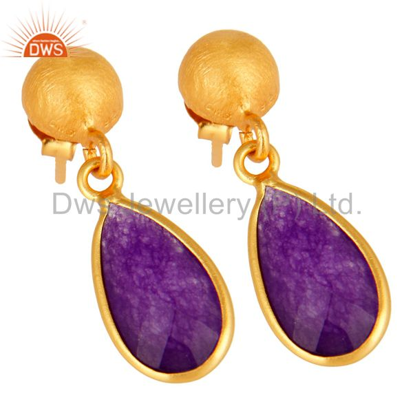 Wholesalers Purple Chalcedony Sterling Silver Drop Earrings With Yellow Gold Plated