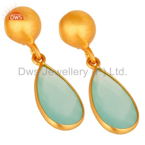 Wholesalers Faceted Blue Chalcedony Gemstone Gold Plated Sterling Silver Drop Earrings