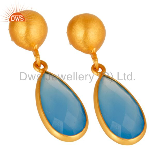 Wholesalers 18K Gold Plated Sterling Silver Faceted Blue Chalcedony Gemstone Drop Earrings