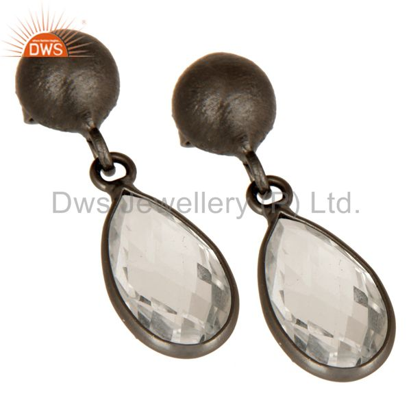 Wholesalers Oxidized Solid Sterling Silver Crystal Quartz Gemstone Bezel Set Drop Earrings