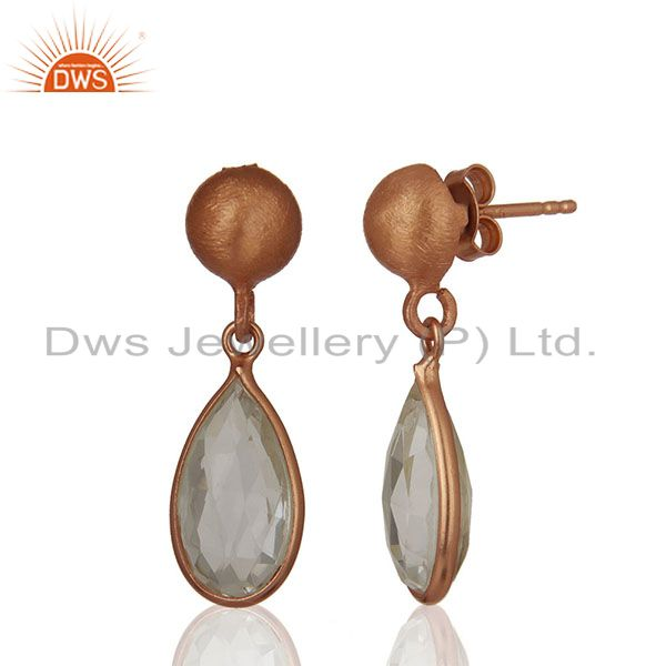 Exporter Handmade Rose Gold Plated 925 Silver Crystal Earring Jewelry Wholesale