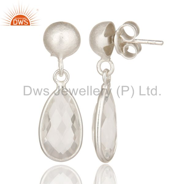 Suppliers 925 Sterling Silver Crystal Quartz Gemstone Bezel Set Teardrop Earrings