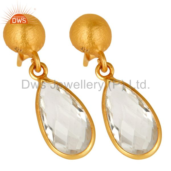 Wholesalers 14K Yellow Gold Plated Sterling Silver Crystal Quartz Bezel Set Teardrop Earring