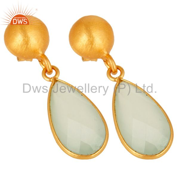 Wholesalers Gold Plated Sterling Silver Faceted Green Chalcedony Teardrop Bezel Set Earring