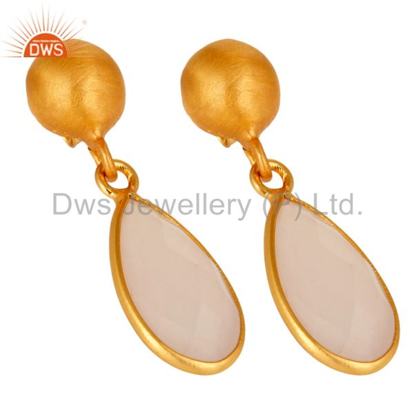 Wholesalers Faceted Dyed Rose Chalcedony Gemstone 24K Gold Plated Sterling Silver Earrings