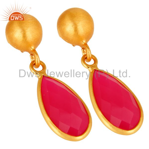 Wholesalers Faceted Pink Chalcedony Drop Earrings In 18K Gold Over Sterling Silver