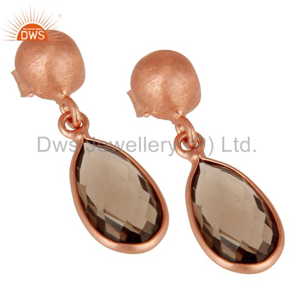 Wholesalers 18K Rose Gold Plated Sterling Silver Smoky Quartz Gemstone Drop Dangle Earrings