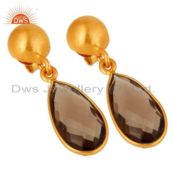 Wholesalers Faceted Natural Smoky Quartz Plated Gold Bezel Set Sterling Silver Drop Earring