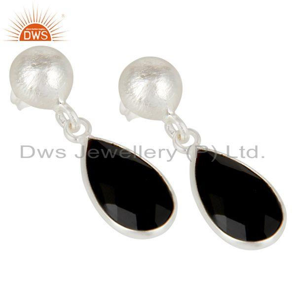Exporter Black Onyx Gemstone 925 Silver Dangle Earring Manufacturer of Jewelry