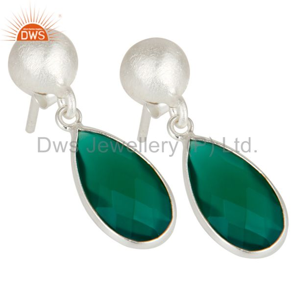Wholesalers Solid Sterling Silver Green Onyx Gemstone Bezel Set Teardrop Earrings