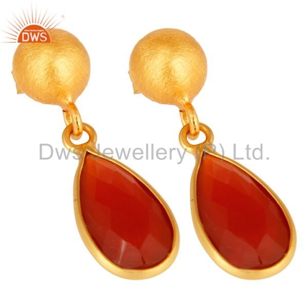 Wholesalers Natural Red Onyx Gold Plated Sterling Silver Drop Earrings