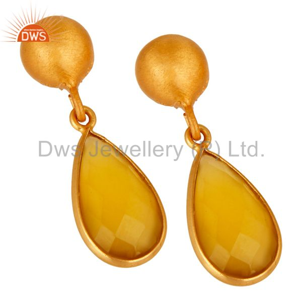 Wholesalers Faceted Yellow Moonstone Pear Shaped Gold Plated Sterling Silver Drop Earrings