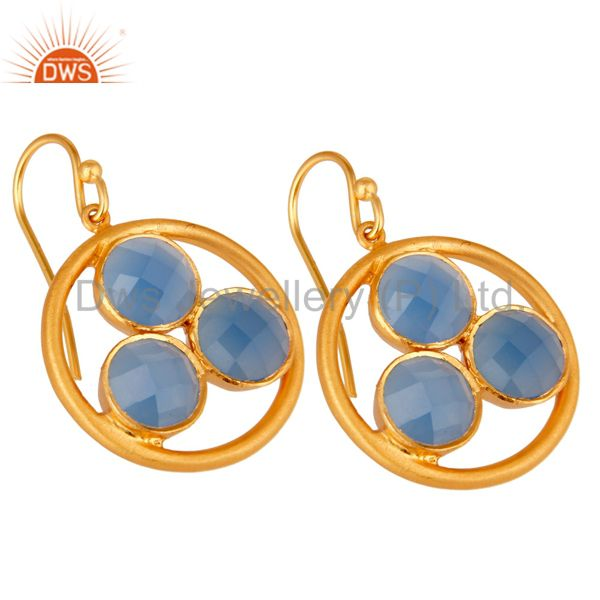 Wholesalers Handmade 18k Gold Plated Silver Blue Chalcedony Gemstone Circle Dangle Earrings
