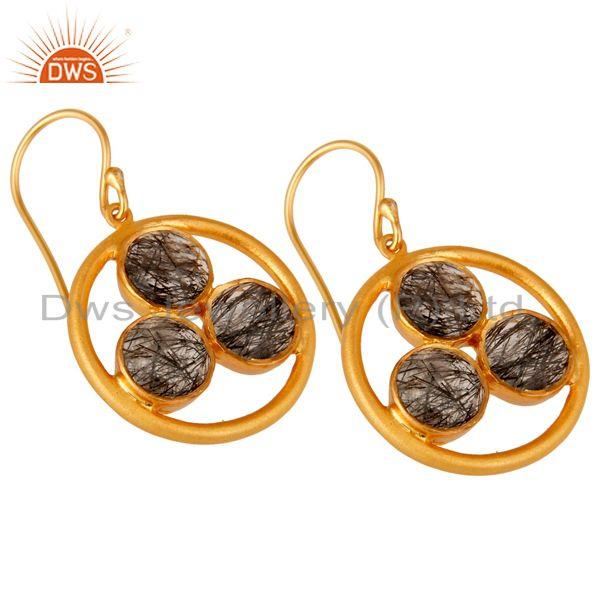 Wholesalers Artisan 18k Gold Plated Silver Black Rutile Gemstone Circle Dangle Earrings