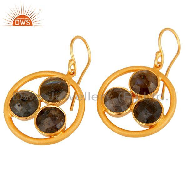 Wholesalers 18k Gold Plated 925 Silver Labradorite Gemstone Circle Dangle Handmade Earrings