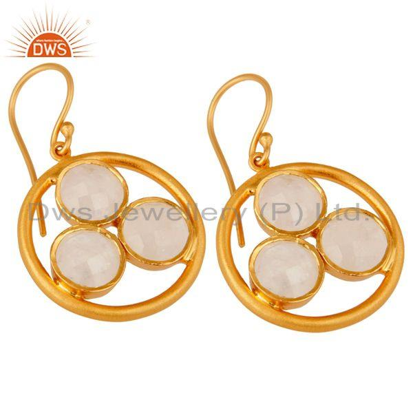 Wholesalers 18k Gold Plated 925 Silver Rainbow Moonstone Gemstone Circle Dangle Earrings
