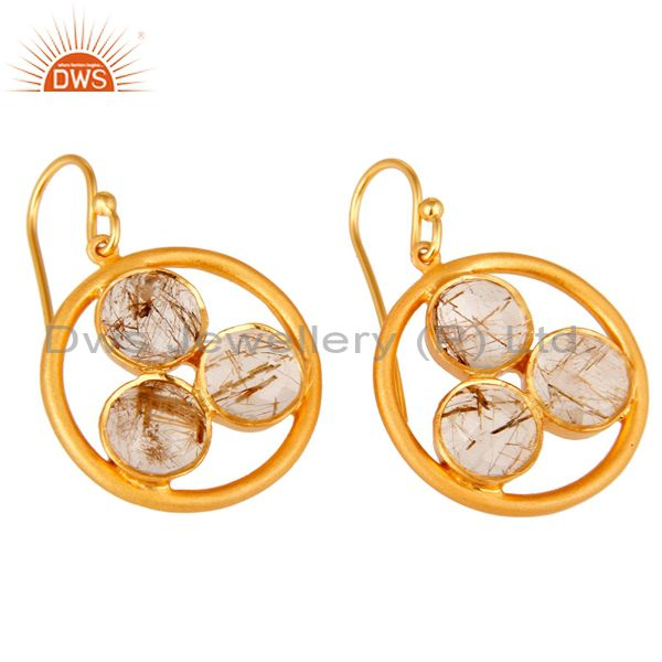 Wholesalers 18k Gold Plated Sterling Silver Yellow Rutile Gemstone Circle Dangle Earrings