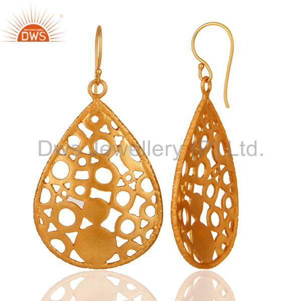 Suppliers 24K Yellow Gold Plated Brass Filigree Designer Drop Dangle Earrings For Womens