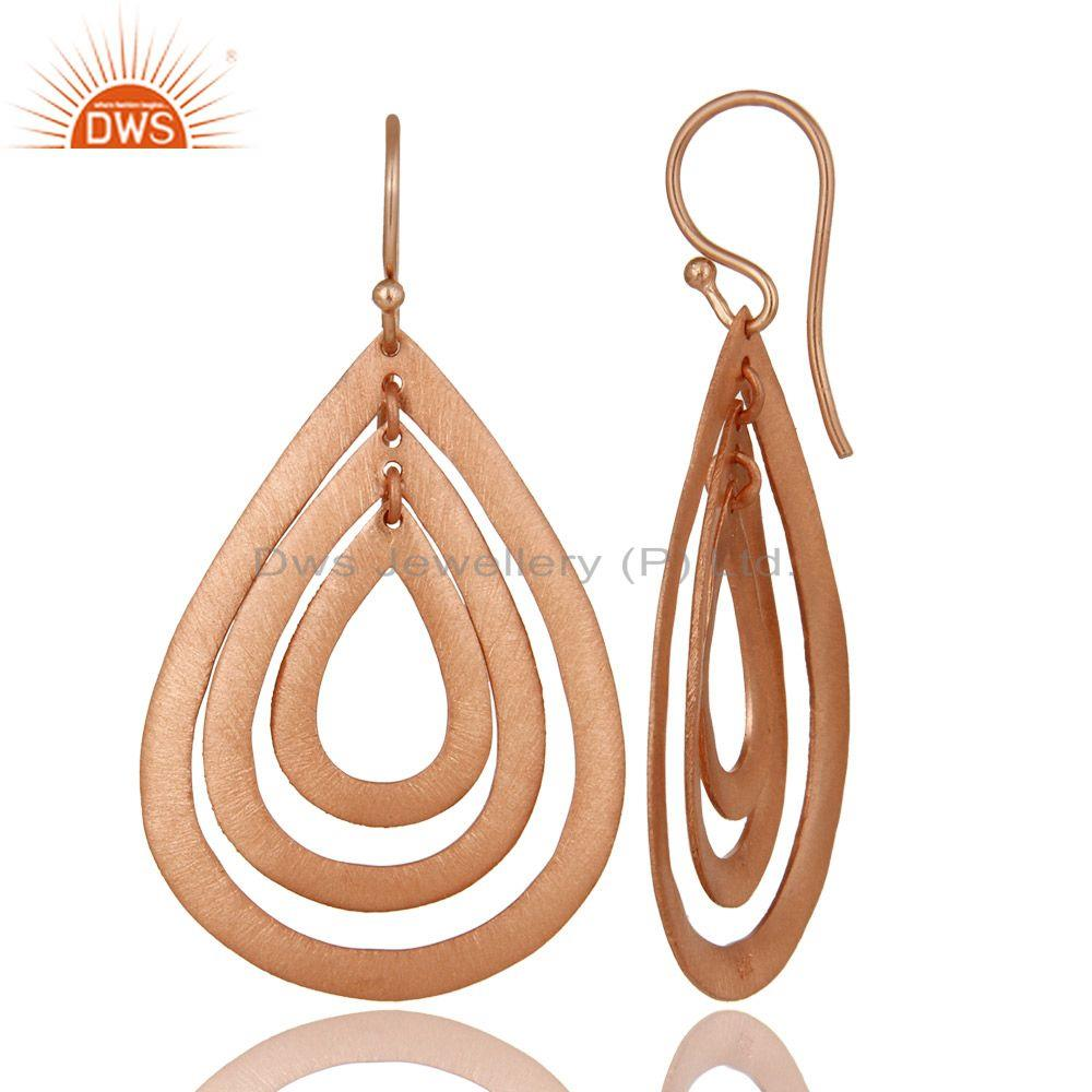 Exporter 14K Rose Gold Plated Sterling Silver Brushed Finish Multi Drop Dangle Earrings