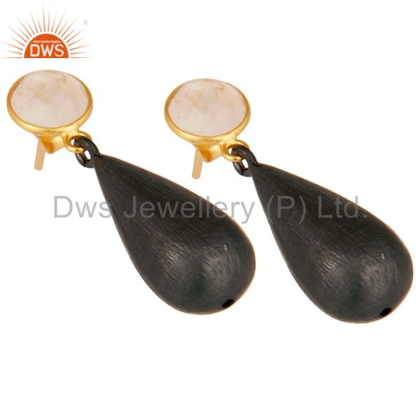 Exporter 22K Gold Plated & Black Oxidized 925 Sterling Silver Moonstone Teardrop Earrings