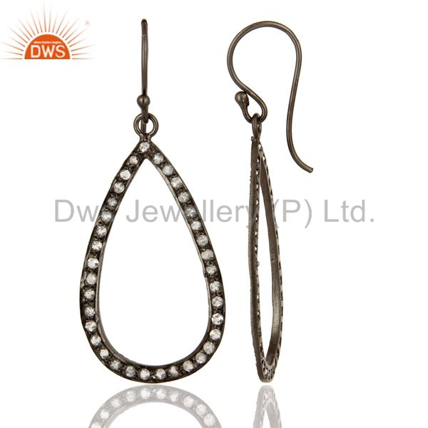 Suppliers Black Rhodium Plated Sterling Silver White Topaz Drop / Dangle Hook Earrings