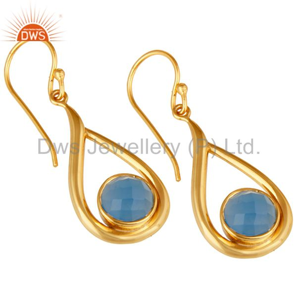 Wholesalers 18k Yellow Gold Plated Sterling Silver Blue Chalcedony Gemstone Artisan Earring
