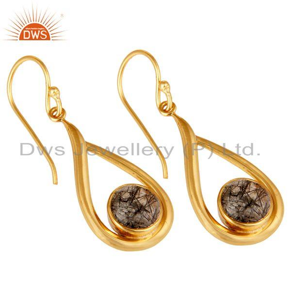 Wholesalers 18k Yellow Gold Plated Tourmulated Quartz Gemstone Sterling Silver  Earring