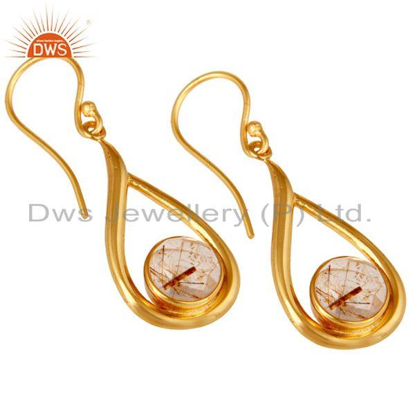 Wholesalers 18k Yellow Gold Plated Rutilated Quartz Gemstone Sterling Silver  Earring