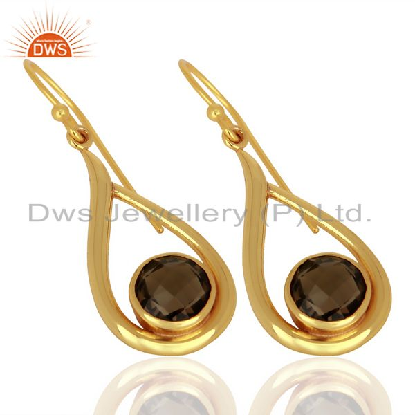 Exporter Smoky Topaz Drop Shape Round Briolet Gold Plated 92.5 Sterlign Silver Earring